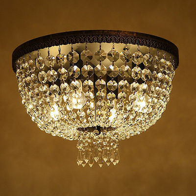 Classic Vintage Round Canopy Clear Crystal Flushmount Ceiling Light Bronze Lamps