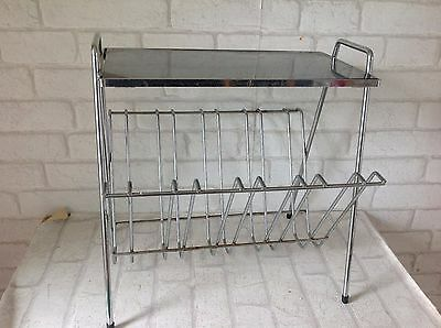 Vintage 1970's Silver Grey Colour and Glass Magazine Record Holder Side Table