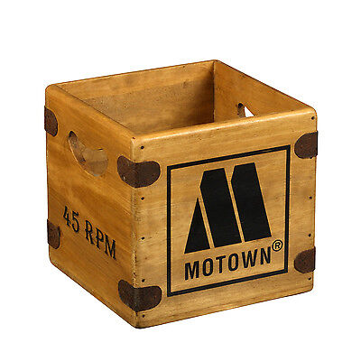 "Vintage Record Box Motown 7"" Single Wooden Vinyl Crate Retro Northern Soul Mod"