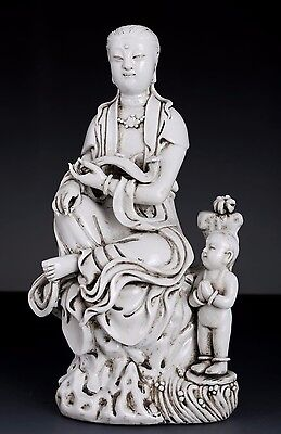 Exquisite Old China White Glaze Porcelain Buddha Statue Marked Collection FA268