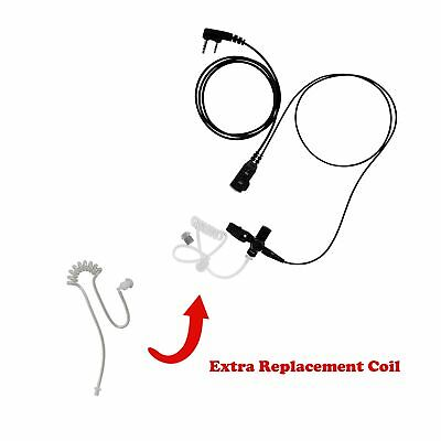 Extra Tube + 1-Wire Clear Coil Surveillance Kit PTT for Kenwood TK-260G TK-360G