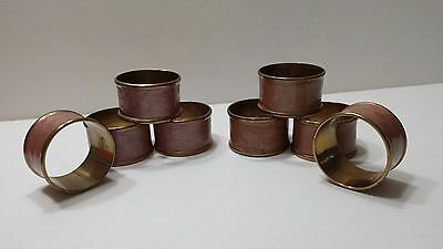 Set of 8 Vintage Brass Napkin Rings Four Burgandy and Four Copper Colour