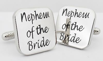 Wholesale Job Lot 25x Pairs Silver Square Nephew of the Bride Wedding Cufflinks