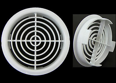 New White Soffit Roof Air Vent Circular UPVC Fascia Board Eave DIA 70mm 2 3/4""
