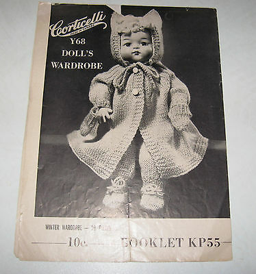 "Vintage knitting patterns for 14"" Doll, by Corticelli Booklet leaflet KP55"