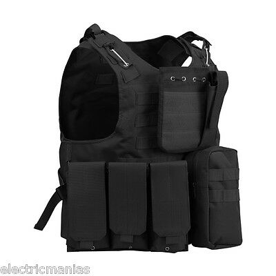 Enkeeo Military SWAT Airsoft Tactical Vest Army Molle Hunting Paintball Carrier