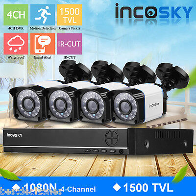 4CH 1080N CCTV DVR +4 X 1500TVL Waterproof Video Camera Security System Kit New