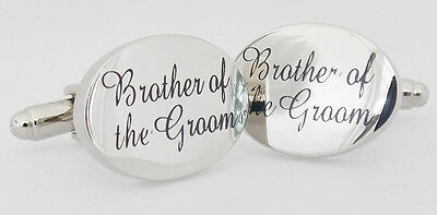 Wholesale Job Lot 50x Pairs Silver OVAL Brother of the Groom Wedding Cufflinks