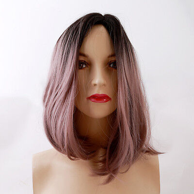 Ladies Natural Synthetic Straight Bob Full Wig Heat Resistant Cosplay Hair Wigs