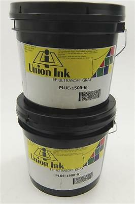 LOT OF 2 Union Ink EF Screen Printing Ink Ultrasoft Gray Plue-1500-G 1 Gal/ea