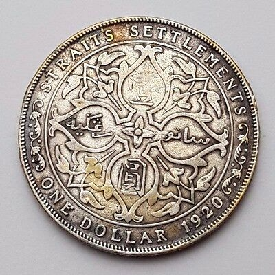 Dated : 1920 - Straits Settlements - One Dollar - $1 - Rare Silver Coin