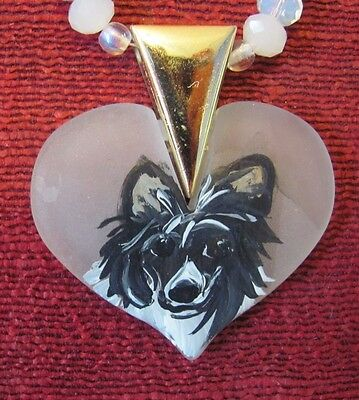 Chinese Crested hand painted on translucent, heart shaped pendant/bead/necklace