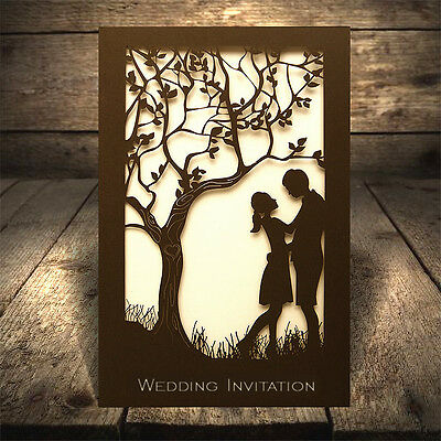 50 Personalised Wedding Invitations Laces Laser Cut Free P*P FREE ENVELOPES