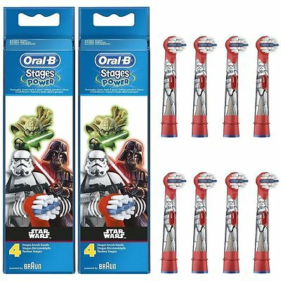 8 x Oral-B Stages Kids Star Wars Replacement Heads Childrens Electric Toothbrush