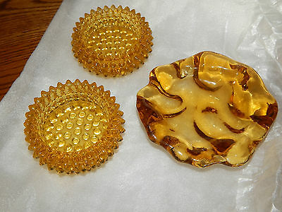 Vintage Amber Glass Ashtray Pair Hobnail Round Yellow & Free Form Ring Dish