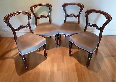 A Set of 4 Victorian Mahogany Dining Chairs