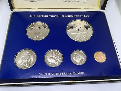 1976 BRITISH VIRGIN ISLANDS FRAKLIN MINT SILVER PROOF COIN SET COA in Case