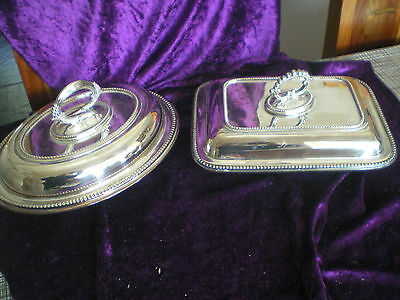 2 x lidded silver plated entree serving dishes 1 HARRODS