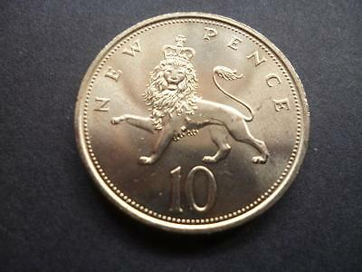 1977 Ten Pence Piece In Uncirculated Condition, 1977 Uncirculated 10P Coin.