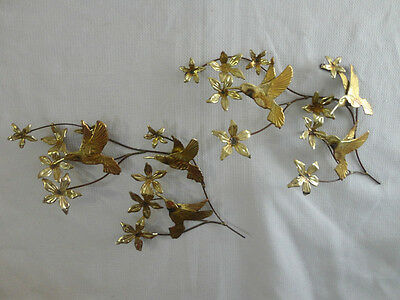 Home Interiors Brass 19'' Hummingbird & Flowers'' Wall Accent 2pc Set  Gorgeous
