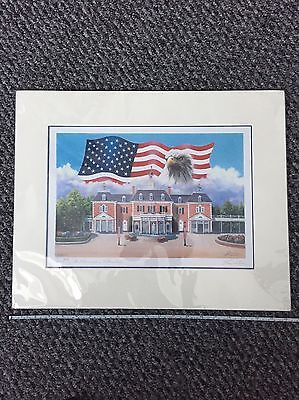 """Larry Dotson, Epcot """"the American Adventure"""" Matted Print Signed 2003"""