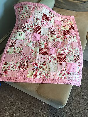 gorgeous pink Cath Kidston cotton fabric baby girl pram or cot quilt