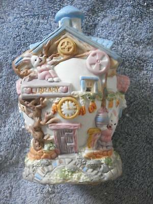 "Vintage Ceramic Egg House Collection Hand-Painted Porcelain ""library"""