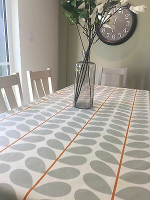 Orla kiely table cloth sand/grey stem cotton with orange accent