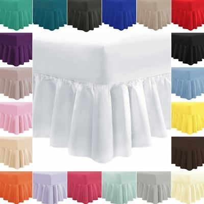 Cotton Rich Fitted Valance Sheet Plain Dyed Bed Sheet Single Double King S. King
