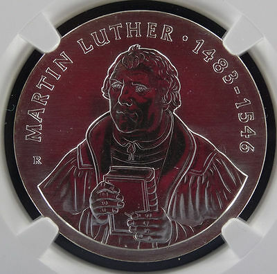 1983 E. Germany: 20 Mark: Martin Luther MS 68 Silver