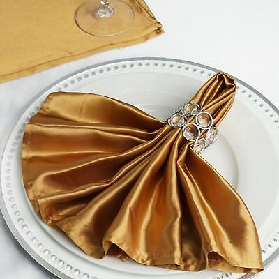 """10 ANTIQUE GOLD Silky SATIN 20x20"""" Wedding NAPKINS Party Table Linens Catering"""