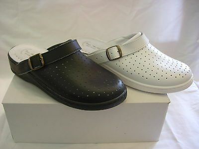 Mens Nhs Chefs  Black White Comfort Leather Kitchen Clogs Nurses Theatre  Mules