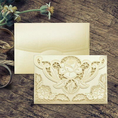 Gold Embossed Ivory Wedding Invitations Laser Cut Free P*P & Envelopes