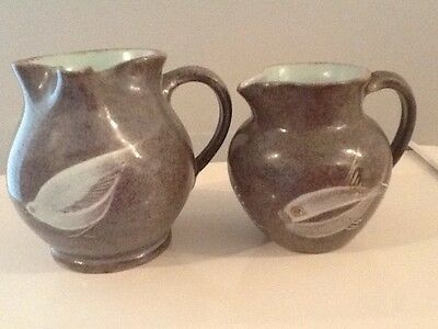 Studio Art Pottery Signed Two Small Jugs With Fish And Bird Design