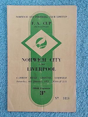 1951 - NORWICH CITY v LIVERPOOL PROGRAMME - FA CUP 3RD ROUND