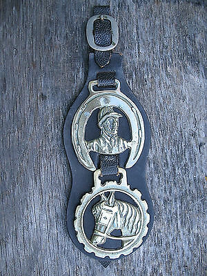 Horse Brass Jockey Shoe Ride Hunter Bridle Medallion Tack Leather Martingale