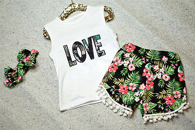 Lovely Toddler Kid Baby Girls Tops T-shirt Shorts Pants Outfits Set Clothes UK