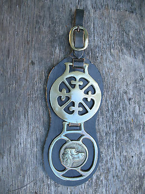 Horse Brass Celtic Cross Hunting Dog Bridle Medallion Tack Leather Martingale
