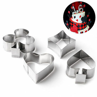 4pcs Poker Stainless Steel Cookie Cutter Mold Biscuit Pastry Cake Baking DIY Dec