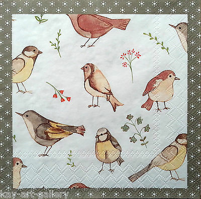 4 x Vintage PAPER Table NAPKINS /  Party / for Decoupage / Craft  / SMALL BIRDS
