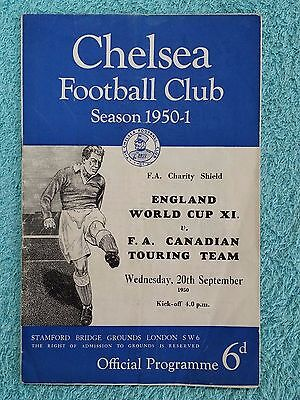 1950 - CHARITY SHIELD PROGRAMME - ENGLAND WORLD CUP XI v CANADIAN TOURING TEAM