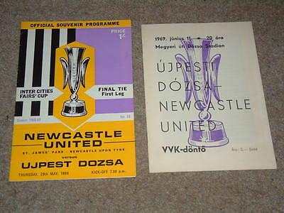 1969 Fairs Cup Final Ujpest Dozsa v Newcastle Utd x2 Originals UEFA Excellent