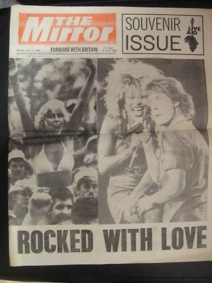 VINTAGE NEWSPAPER DAILY MIRROR JULY 15th 1985 LIVE AID SOUVENIR ISSUE SPECIAL