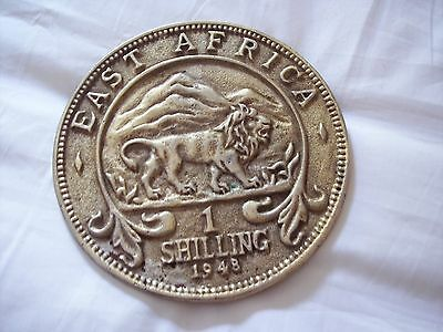 Vintage Brass East Africa 1 Shilling 1948 Decorative Trivet Lion