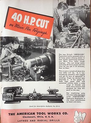 Vintage 1950 Ad(F12)~American Pacemaker Lathe, For Locomotive Machining
