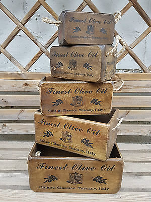 Rustic Antique Vintage Style  FINEST OLIVE OIL Wooden Boxes Crates Set of 5