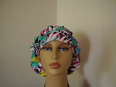 Bouffant/Ponytail Combo Scrub Hat -Tropical