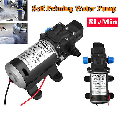 12V DC Self Priming Water Pump High Pressure Diaphragm for Wash 160Psi 8Lpm 100W