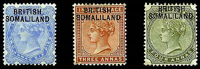 Somaliland Protectorate. 1903. First Issue. 2 1/2a~4a. SC# 4,5,6. SG 4,5,6. MH