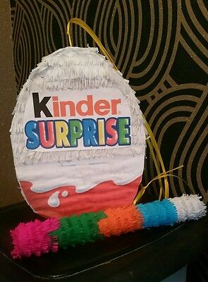 """Kinder Surprise Egg Pinata 10"""" filled with Sweets Birthday Party & Stick"""
